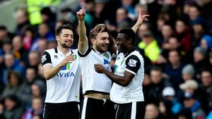 Norwich's Robert Snodgrass (centre) celebrates after giving his side the lead