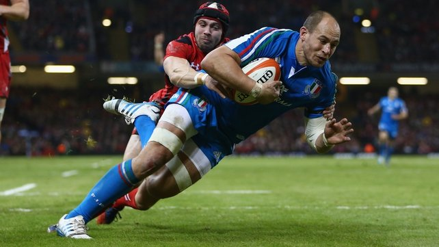 Sergio Parisse in action against Wales