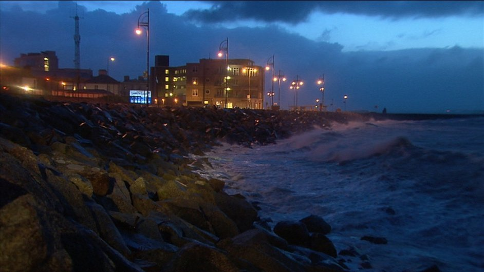 A section of the promenade in Salthill takes a battering