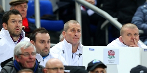 England's coaching team of Andy Farrell, Stuart Lancaster and Graham Rowntree watch their side's clash with France