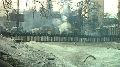 Ukrainian authorities have accused protesters of torturing a policeman