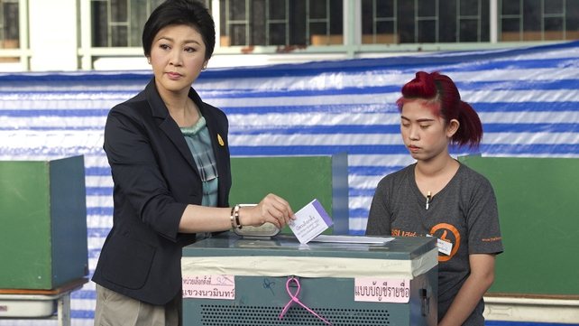 Prime Minister Yingluck Shinawatra cast her vote early