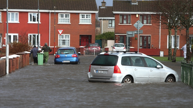 Cars are stranded in flood waters in Limerick