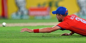 Stuart Broad dives to catch the ball during the third Twenty20 international