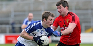 Down's Peter Turley in action with Monaghan's Jack McCarron