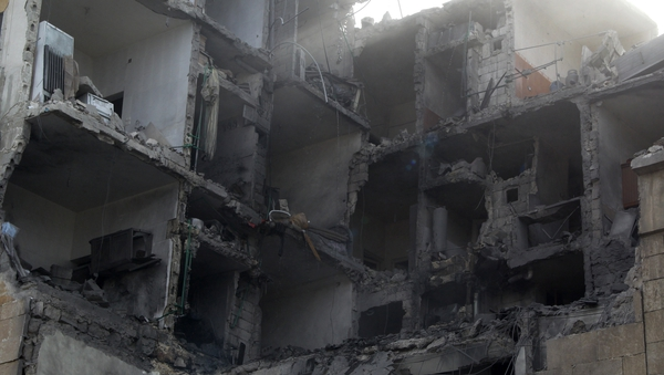 A building in northern Aleppo in the aftermath of reported air strikes by government forces