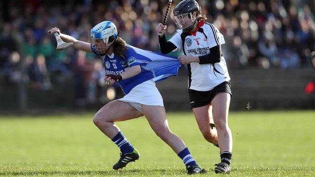 Ardrahan's Cliodhna Walsh (l) is pulled by Sinead Aylward of Mulinavat