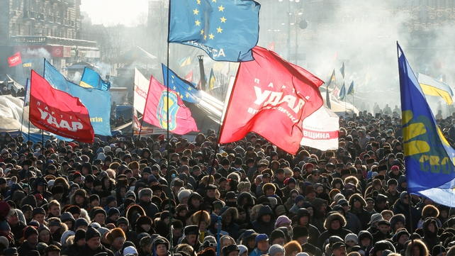 Thousands protested against the government in Kiev yesterday (Pic: EPA)