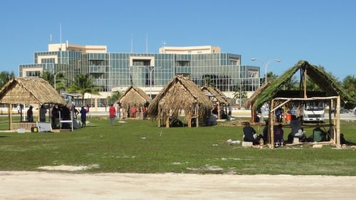 The Marshall Islands authorities prepare a welcome for a Pacific leaders' summit in Majuro