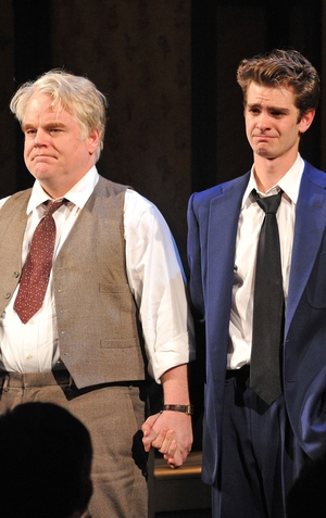 Philip Seymour Hoffman and Andrew Garfield onstage for Death Of A Salesman in 2012