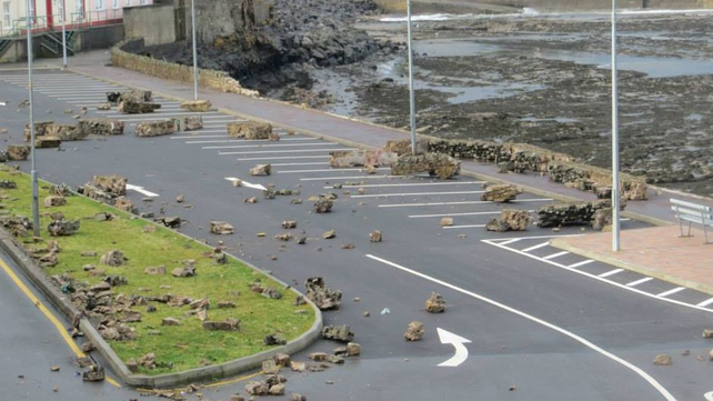 Damage to the seafront in Bundoran, Co Donegal