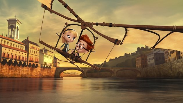 Sherman and Penny's thrilling adventure on Da Vinci's glider makes for a visual delight
