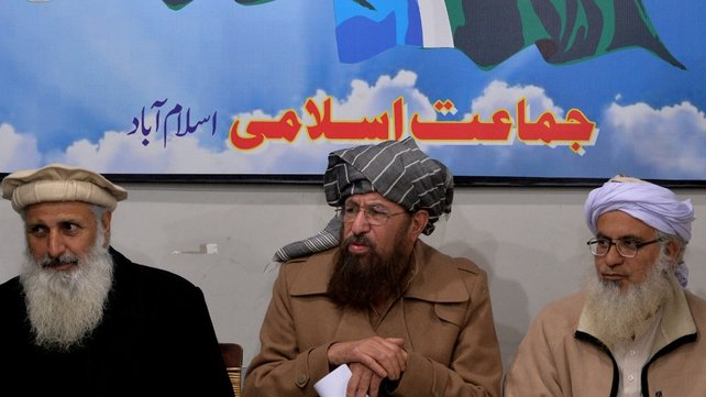TTP committee members to hold talks with the government include chief cleric of Islamabad's Red Mosque, Maulana Abdul Aziz (R), Maulana Sami-ul-Haq (C) and professor Ibrahim Khan