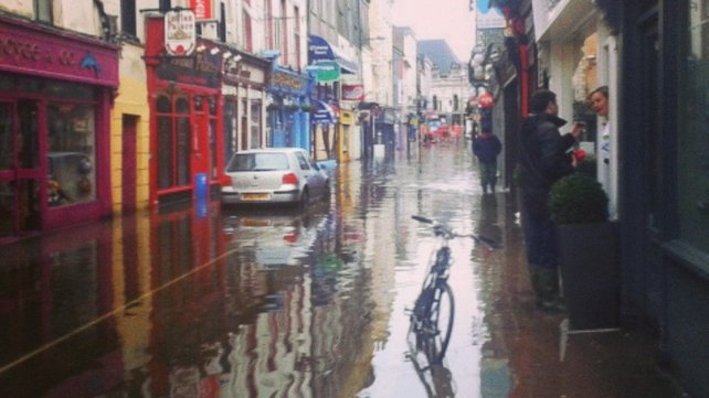 Princes Street in Cork was hit by flooding yesterday morning (Pic: Aoife Danagher)