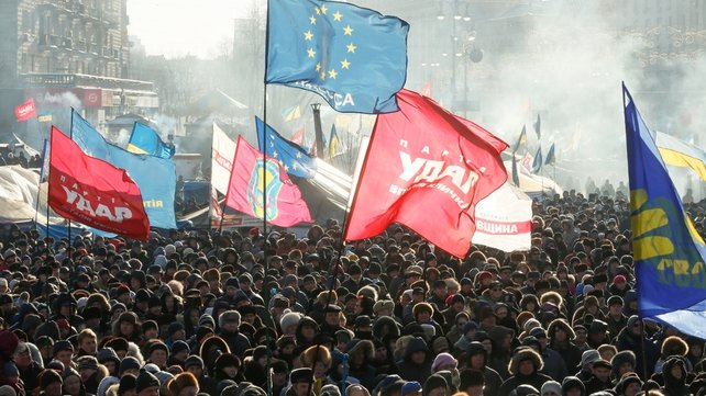 Thousands of Ukrainians rallied again in Independence Square on Sunday (Pic: EPA)