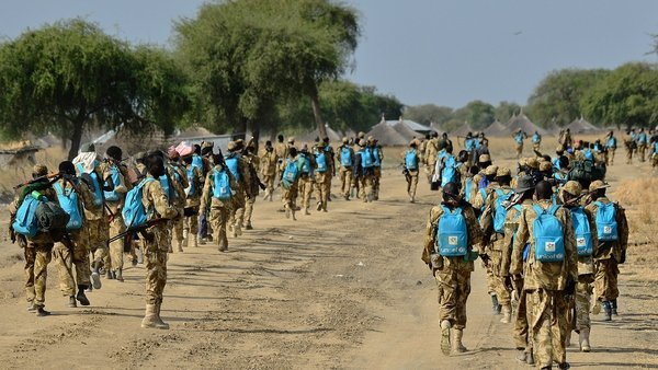 South Sudanese government soldiers were photographed kitted out with bright-blue UNICEF school bags
