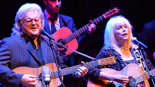 Emmylou Harris performing recently with Ricky Skaggs at a CMA George Jones tribute concert.