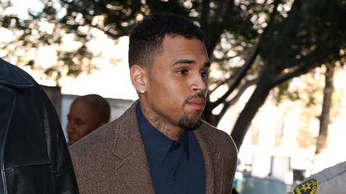 Chris Brown arriving for court yesterday