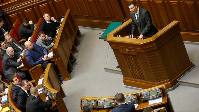 Opposition leader Vitaly Klitschko addresses parliament