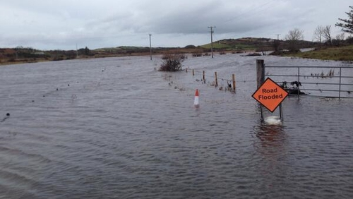 Flooding in Rosmindle, near Westport, Co Mayo earlier today