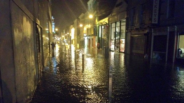 Water on Oliver Plunkett Street eventually rose to waist height