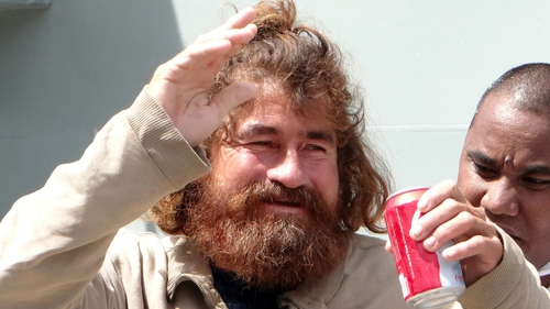 Jose Salvador Alvarenga steps off the 'Lomor' Sea Patrol vessel in Majuro