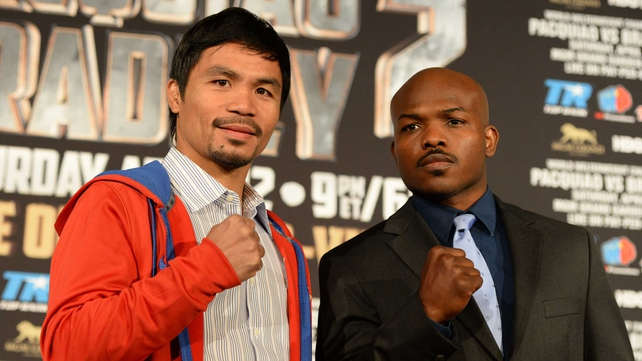 Manny Pacquiao and Tim Bradley at a news conference to promote their bout