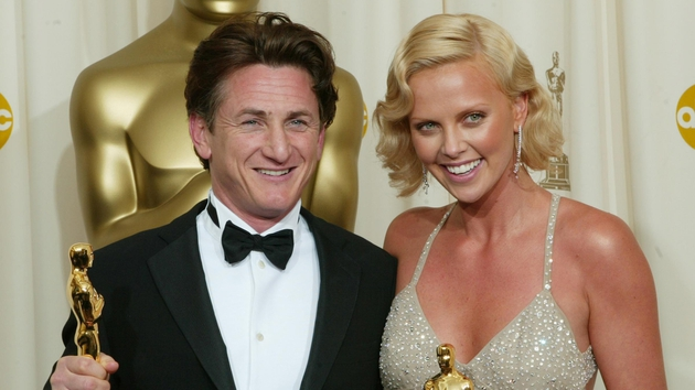 Sean Penn, Charlize Theron with their 2004 Best Actor and Best Actress Oscars respectively