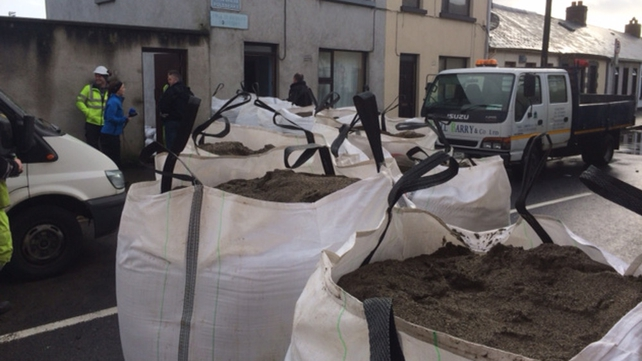 Getting the sandbags ready in Waterford