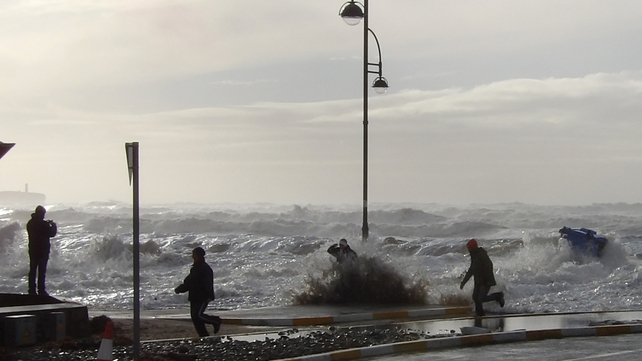 Big waves surprise those in Tramore (Pic: Tina Schley)