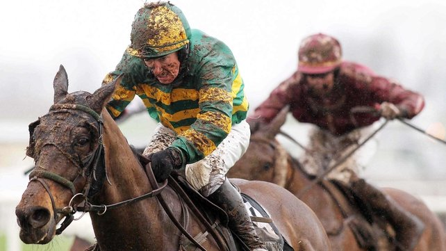 Blissful Moment, ridden by Paul Carberry, comes home to win in difficult conditions at Down Royal