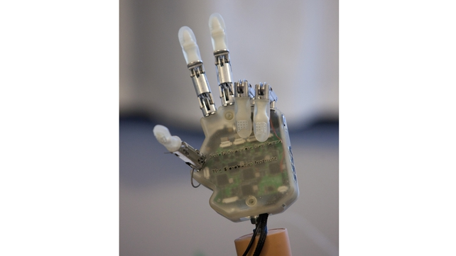 The artificial hand detects information about touch using electrical signals from artificial tendons controlling finger movement (Pic: LifeHand 2 Patrizia Tocci)