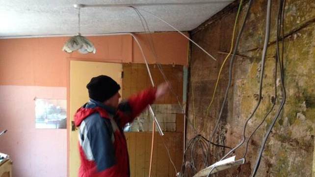 A kitchen stripped of fixtures amid fears of contamination in Limerick