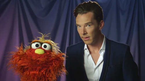 Cumberbatch (right) on his recent Sesame Street appearance
