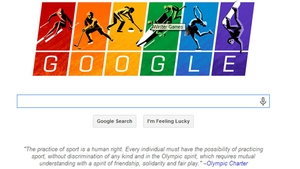Google used the colours of the rainbow flag on its Winter Games doodle