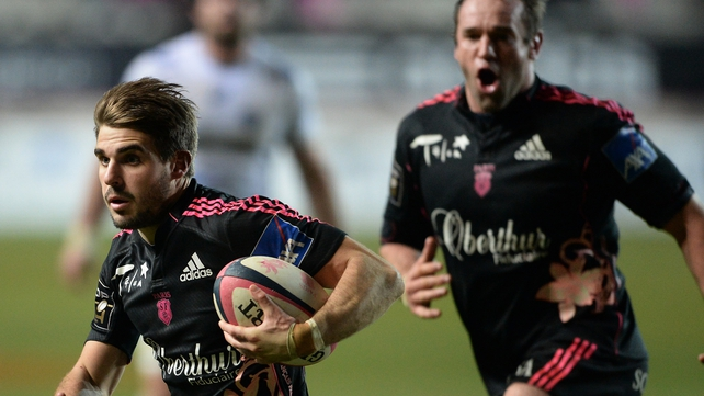Hugo Bonneval (left) in action for Stade Francais