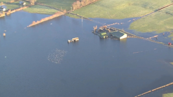 An aerial view of flooded lands (Pic: Irish Air Corps)