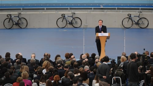 David Cameron was speaking at the Olympic Park in London