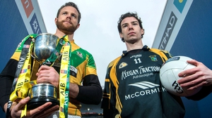 Niall Browne (l) of Two Mile House with Fuerty captain Niall Kilroy