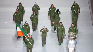 Skier Conor Lyne led out the Irish team at the ceremony