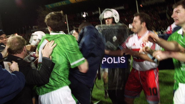 Tony Cascarino at the end of the match in Bursa in 1999