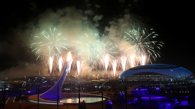 Fireworks illuminate the Sochi skyline during the ceremony