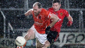 Armagh's Ciaran McKeever in action with Down's Donal O'Hare