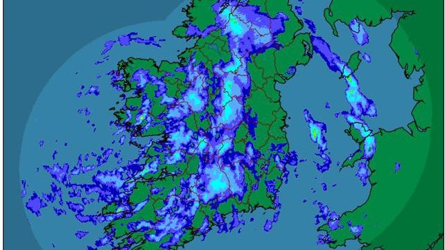The latest rainfall radar as of 7am (Pic: Met Éireann)