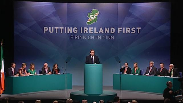 Sinn Féin TD for Donegal North East Padraig MacLochlainn addressing the Ard Fheis