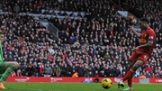 Raheem Sterling scoring in Liverpool's rout of Arsenal last season