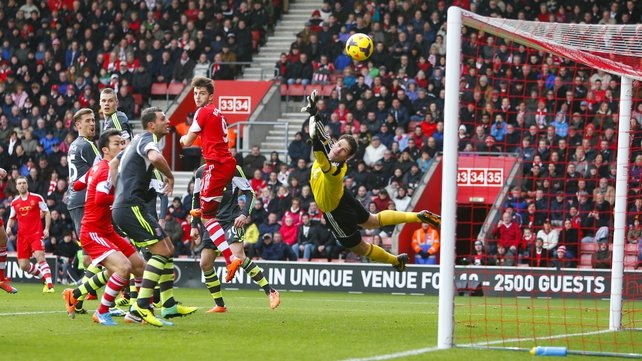 Rickie Lambert's free-kick sails past Stoke 'keeper Asmir Begovic to give Saints the lead