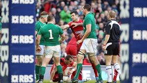 Mike Phillips gets involved in some pushing and shoving after Ireland's second try