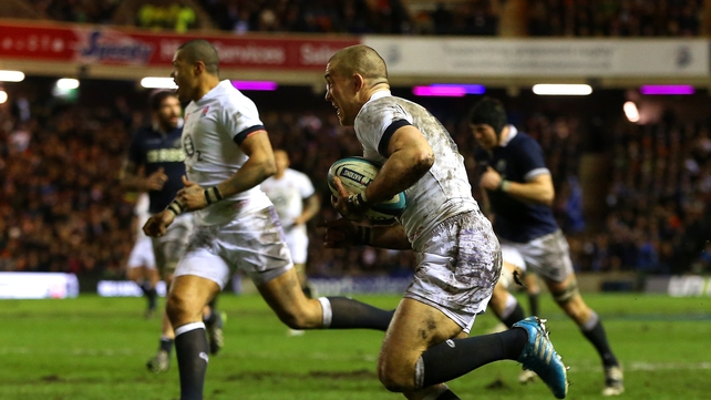 Mike Brown runs in to score for England