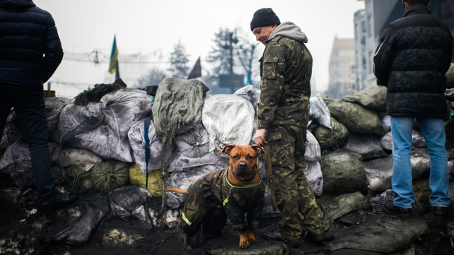 An opposition demonstrator holding a dog stands on a barricade in Kiev